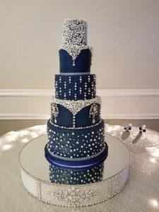 Navy Blue Custom Wedding Cake