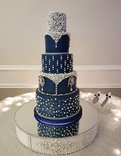 Navy Blue Custom Wedding Cake