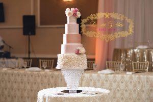 custom rose gold pink ruffle wedding cake