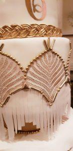 Gold and White Art Deco Wedding Fringe Ruffles Sugar Flower Gumpaste Flowers Gold Monogram