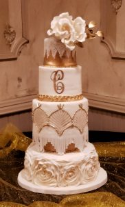 Gold and White Art deco Fringe Wedding cake Ruffles Gumpaste Flowers Gold Monogram