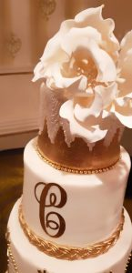 Gumpaste Sugar Flower Art Deco Gold Monogram Cake Lace